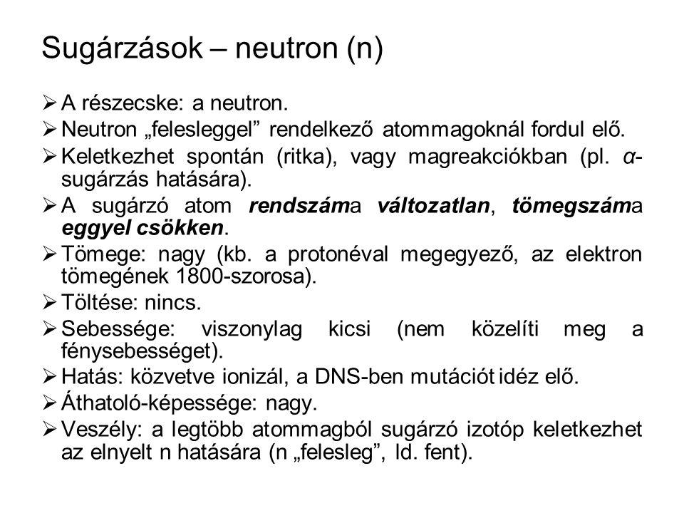 """Sugárzások – neutron (n)  A részecske: a neutron.  Neutron """"felesleggel"""" rendelkező atommagoknál fordul elő.  Keletkezhet spontán (ritka), vagy mag"""