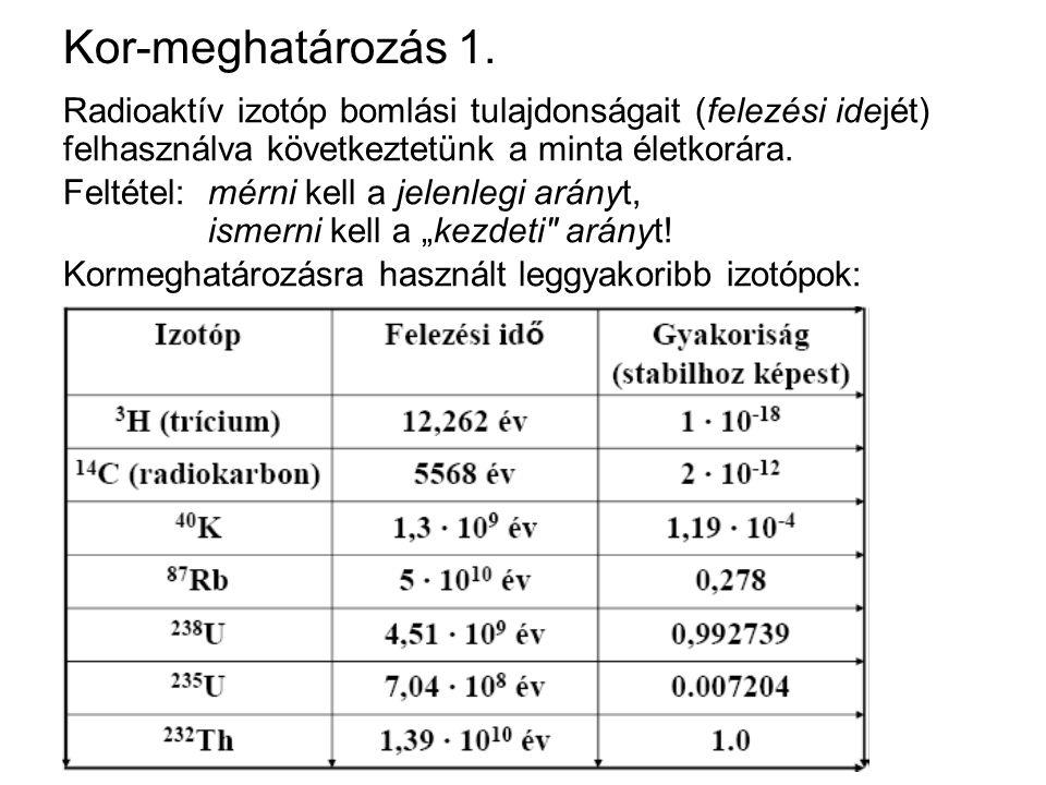 Kor-meghatározás 1. Radioaktív izotóp bomlási tulajdonságait (felezési idejét) felhasználva következtetünk a minta életkorára. Feltétel:mérni kell a j