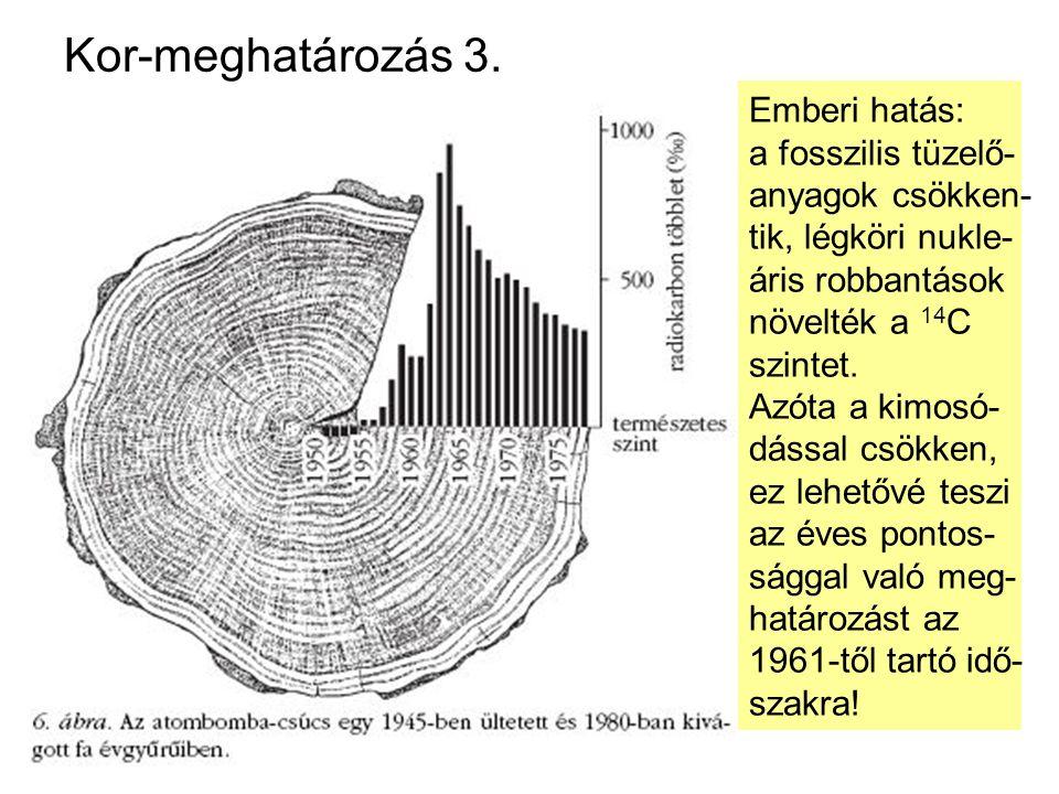 Kor-meghatározás 3. Radiokarbon módszer: (T = 5568, 5580, 5730±40 év) A 14 C a kozmikus sugárzás hatására folyamatosan kelet- kezik ( 14 N + n → 14 C