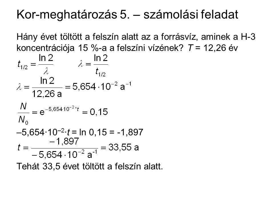 Kor-meghatározás 5. – számolási feladat Hány évet töltött a felszín alatt az a forrásvíz, aminek a H-3 koncentrációja 15 %-a a felszíni vízének? T = 1