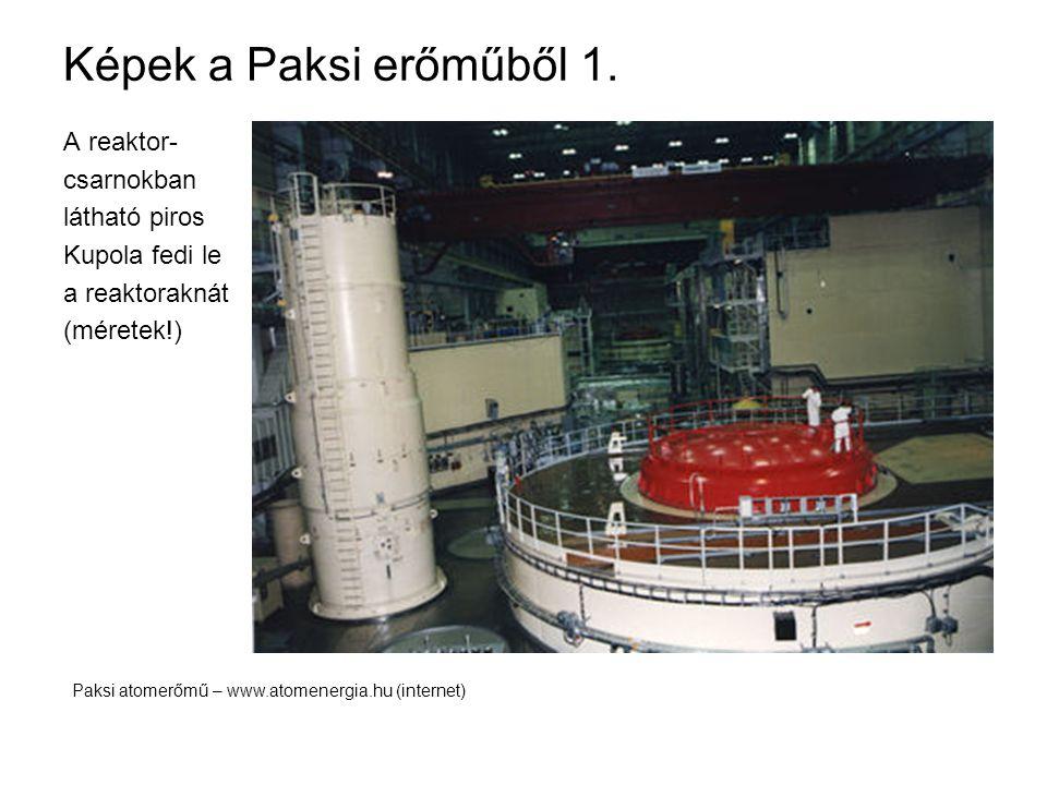 Képek a Paksi erőműből 1. A reaktor- csarnokban látható piros Kupola fedi le a reaktoraknát (méretek!) Paksi atomerőmű – www.atomenergia.hu (internet)