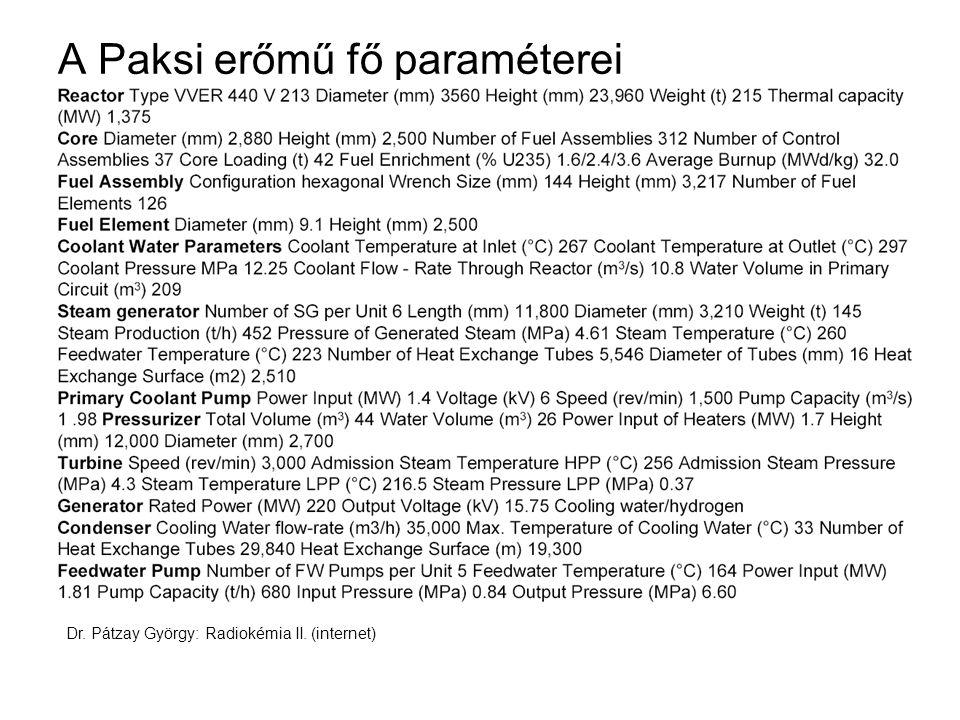A Paksi erőmű fő paraméterei Dr. Pátzay György: Radiokémia II. (internet)