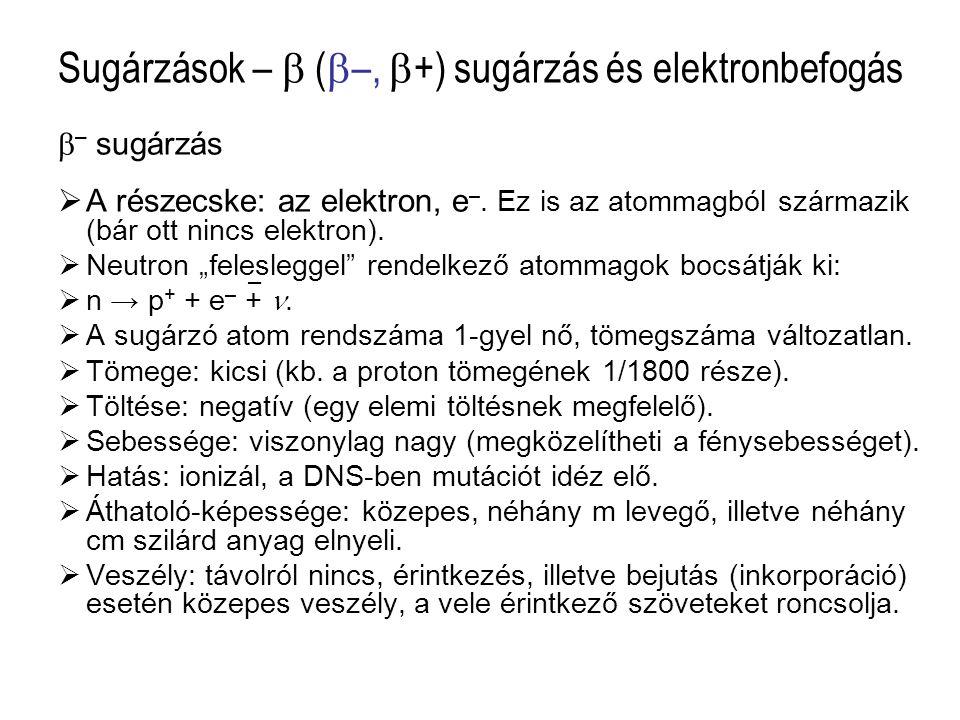 Sugárzások –  (  –,  +) sugárzás és elektronbefogás  – sugárzás  A részecske: az elektron, e –. Ez is az atommagból származik (bár ott nincs elek
