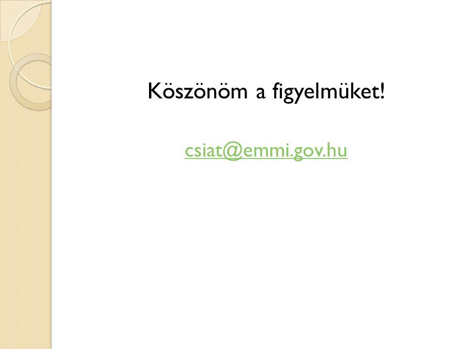 Köszönöm a figyelmüket! csiat@emmi.gov.hu