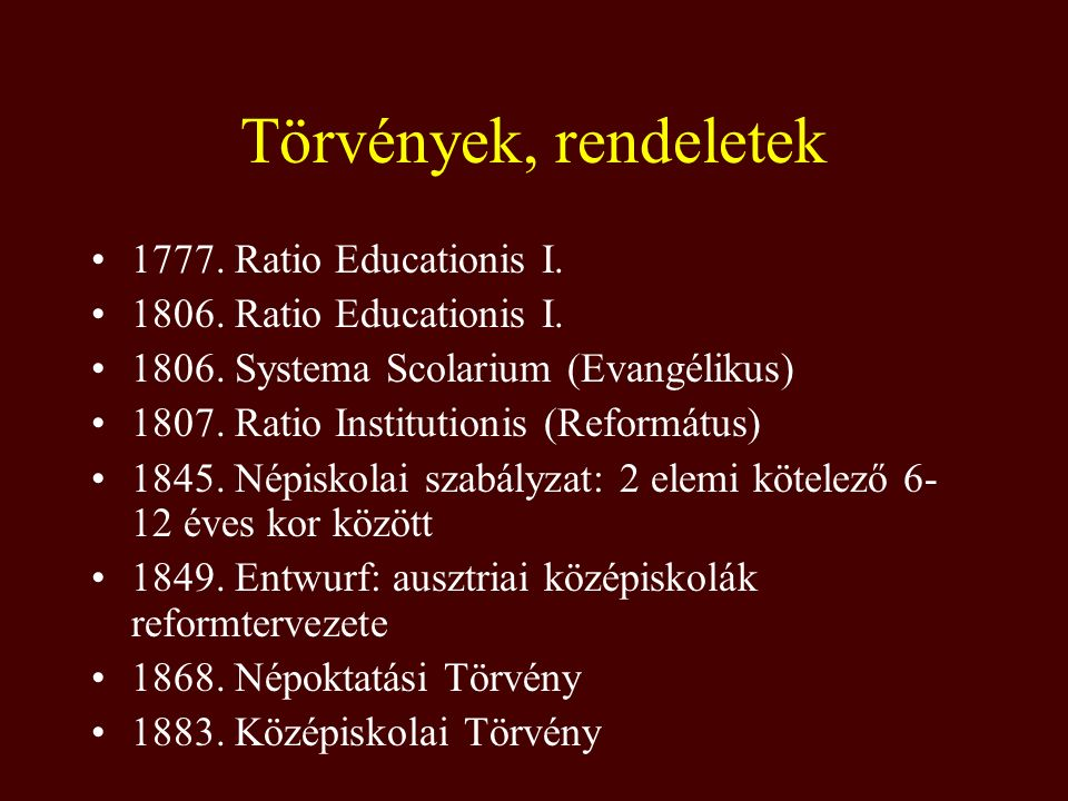Törvények, rendeletek 1777. Ratio Educationis I. 1806. Ratio Educationis I. 1806. Systema Scolarium (Evangélikus) 1807. Ratio Institutionis (Reformátu
