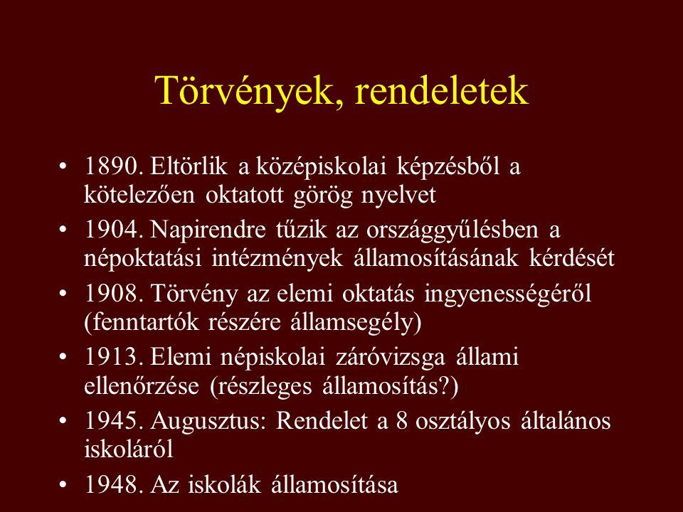 Törvények, rendeletek 1890. Eltörlik a középiskolai képzésből a kötelezően oktatott görög nyelvet 1904. Napirendre tűzik az országgyűlésben a népoktat