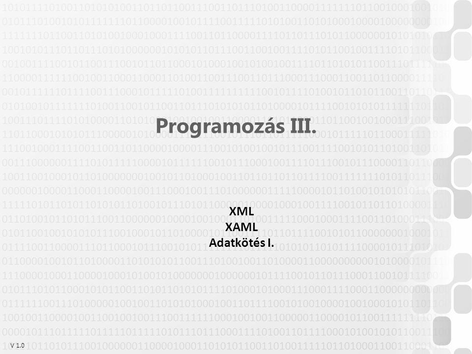 V 1.0ÓE-NIK, 2014 XAML névterek A névterek adják meg a XAML-dokumentumunkban (az adott elemen belül) használható kulcsszavak körét 12 <Window x:Class= WpfApplication4.MainWindow xmlns= http://schemas.microsoft.com/winfx/2006/xaml/presentation xmlns:x= http://schemas.microsoft.com/winfx/2006/xaml Title= MainWindow Height= 350 Width= 525 >