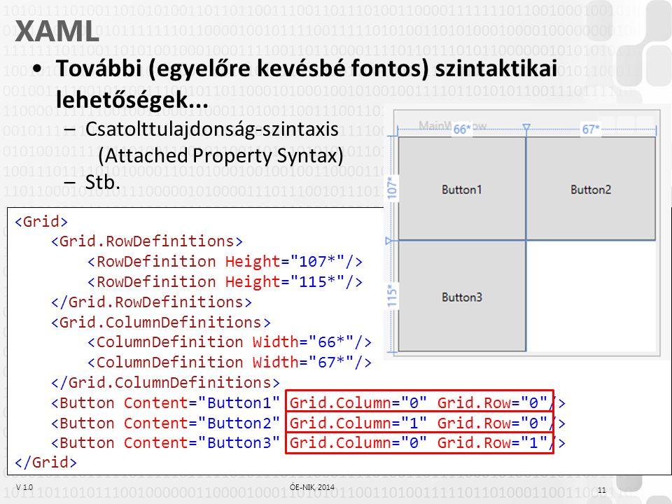 V 1.0ÓE-NIK, 2014 XAML További (egyelőre kevésbé fontos) szintaktikai lehetőségek...