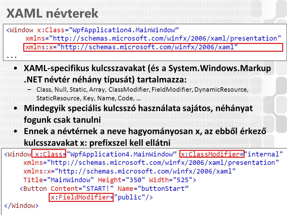 V 1.0ÓE-NIK, 2014 XAML névterek XAML-specifikus kulcsszavakat (és a System.Windows.Markup.NET névtér néhány típusát) tartalmazza: –Class, Null, Static, Array, ClassModifier, FieldModifier, DynamicResource, StaticResource, Key, Name, Code, … Mindegyik speciális kulcsszó használata sajátos, néhányat fogunk csak tanulni Ennek a névtérnek a neve hagyományosan x, az ebből érkező kulcsszavakat x: prefixszel kell ellátni 14 <Window x:Class= WpfApplication4.MainWindow xmlns= http://schemas.microsoft.com/winfx/2006/xaml/presentation xmlns:x= http://schemas.microsoft.com/winfx/2006/xaml ...