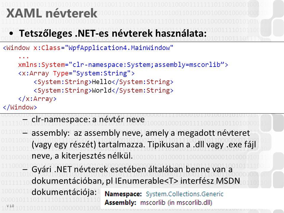 V 1.0ÓE-NIK, 2014 XAML névterek Tetszőleges.NET-es névterek használata: –clr-namespace: a névtér neve –assembly: az assembly neve, amely a megadott névteret (vagy egy részét) tartalmazza.