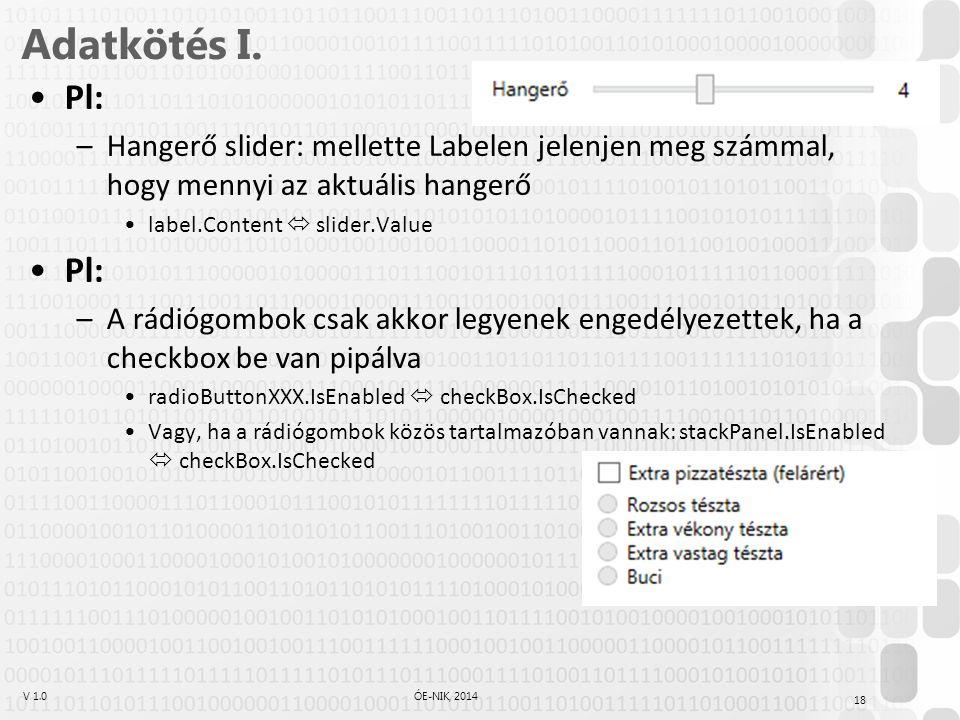 V 1.0ÓE-NIK, 2014 Adatkötés I.