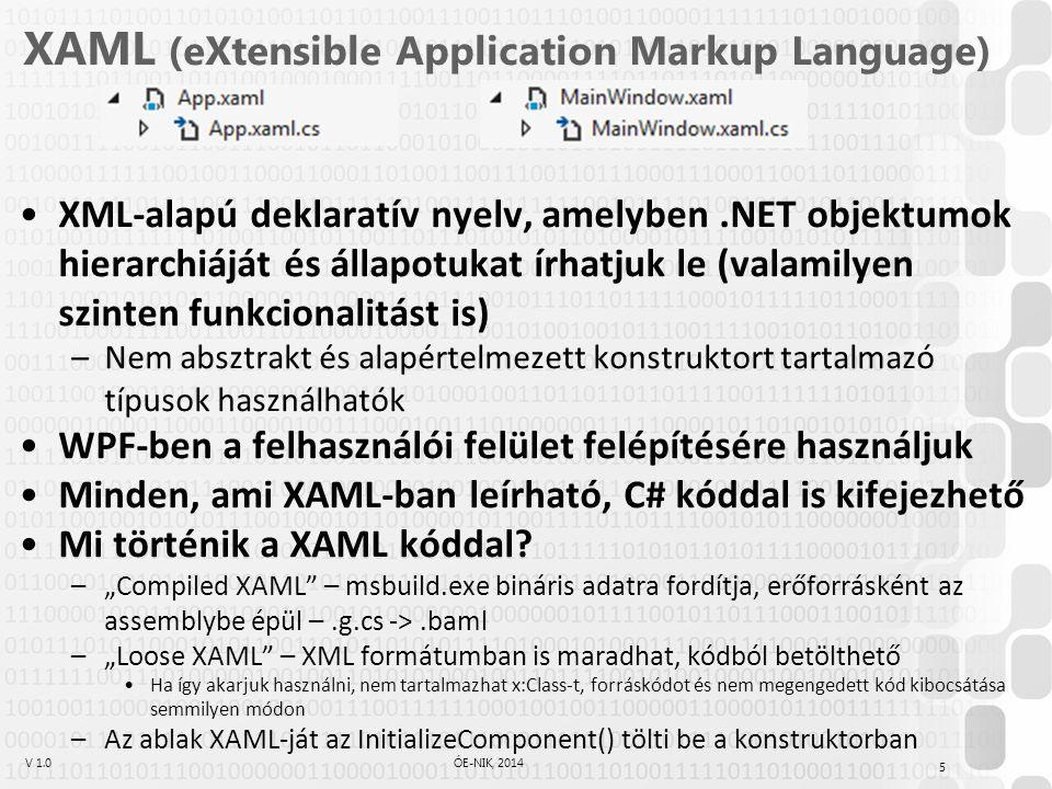 V 1.0ÓE-NIK, 2014 XAML (eXtensible Application Markup Language) XML-alapú deklaratív nyelv, amelyben.NET objektumok hierarchiáját és állapotukat írhatjuk le (valamilyen szinten funkcionalitást is) –Nem absztrakt és alapértelmezett konstruktort tartalmazó típusok használhatók WPF-ben a felhasználói felület felépítésére használjuk Minden, ami XAML-ban leírható, C# kóddal is kifejezhető Mi történik a XAML kóddal.