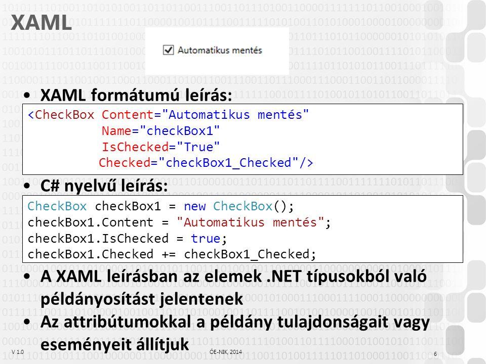 V 1.0ÓE-NIK, 2014 XAML XAML formátumú leírás: C# nyelvű leírás: A XAML leírásban az elemek.NET típusokból való példányosítást jelentenek Az attribútumokkal a példány tulajdonságait vagy eseményeit állítjuk 6 <CheckBox Content= Automatikus mentés Name= checkBox1 IsChecked= True Checked= checkBox1_Checked /> CheckBox checkBox1 = new CheckBox(); checkBox1.Content = Automatikus mentés ; checkBox1.IsChecked = true; checkBox1.Checked += checkBox1_Checked;
