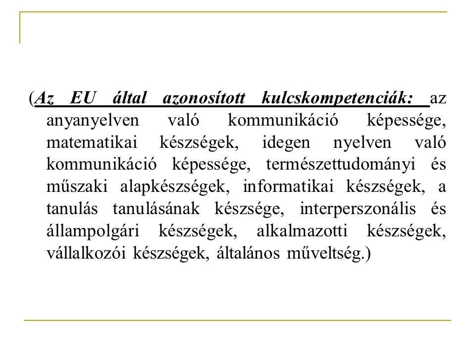 (Az EU által azonosított kulcskompetenciák: az anyanyelven való kommunikáció képessége, matematikai készségek, idegen nyelven való kommunikáció képess
