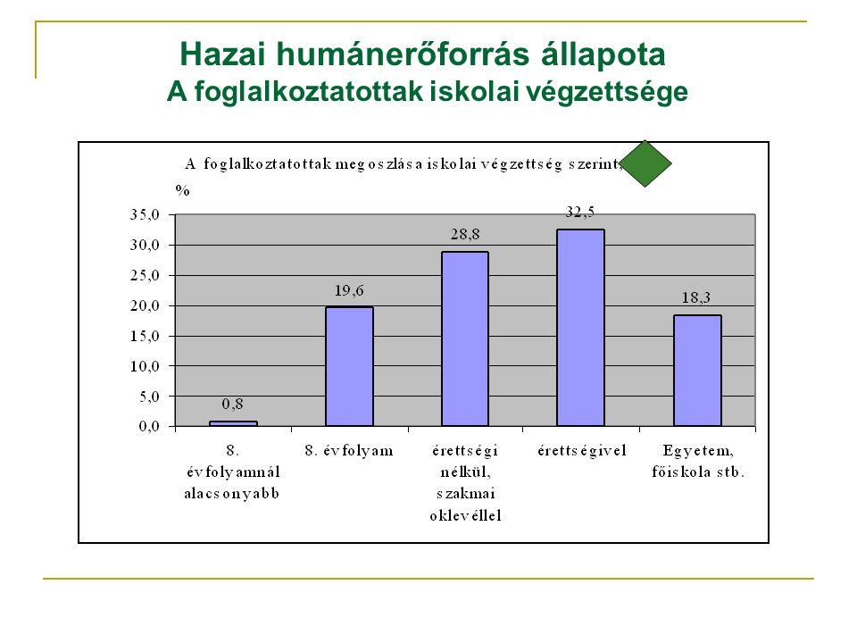 Hazai humánerőforrás állapota A foglalkoztatottak iskolai végzettsége