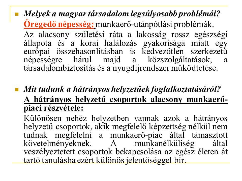 Melyek a magyar társadalom legsúlyosabb problémái? Öregedő népesség: munkaerő-utánpótlási problémák. Az alacsony születési ráta a lakosság rossz egész