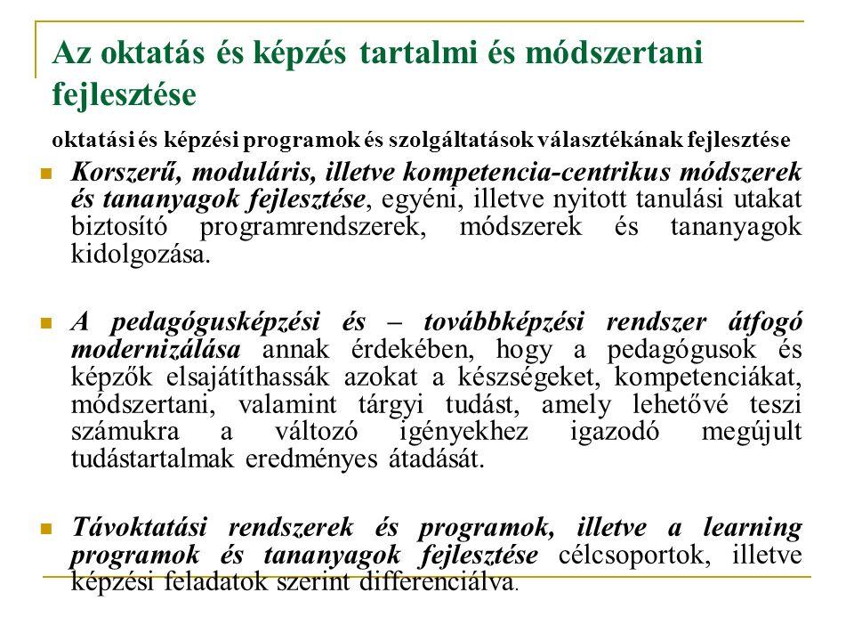 Az oktatás és képzés tartalmi és módszertani fejlesztése oktatási és képzési programok és szolgáltatások választékának fejlesztése Korszerű, moduláris