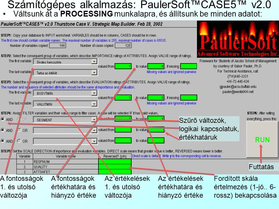 Számítógépes alkalmazás: PaulerSoft™CASE5™ v2.0 Megnyitjuk a Case5Minta.xls munkafüzetetCase5Minta.xls Az INPUT munkalapra bemásoljuk az adatbázist: –A változók oszopokban legyenek, a megfigyelések sorokban –Az első sorban a változók nevei legyenek –A fontosságokat ábrázoló változók neveit cseréljük le rövid, de kifejező magyarázatukkal