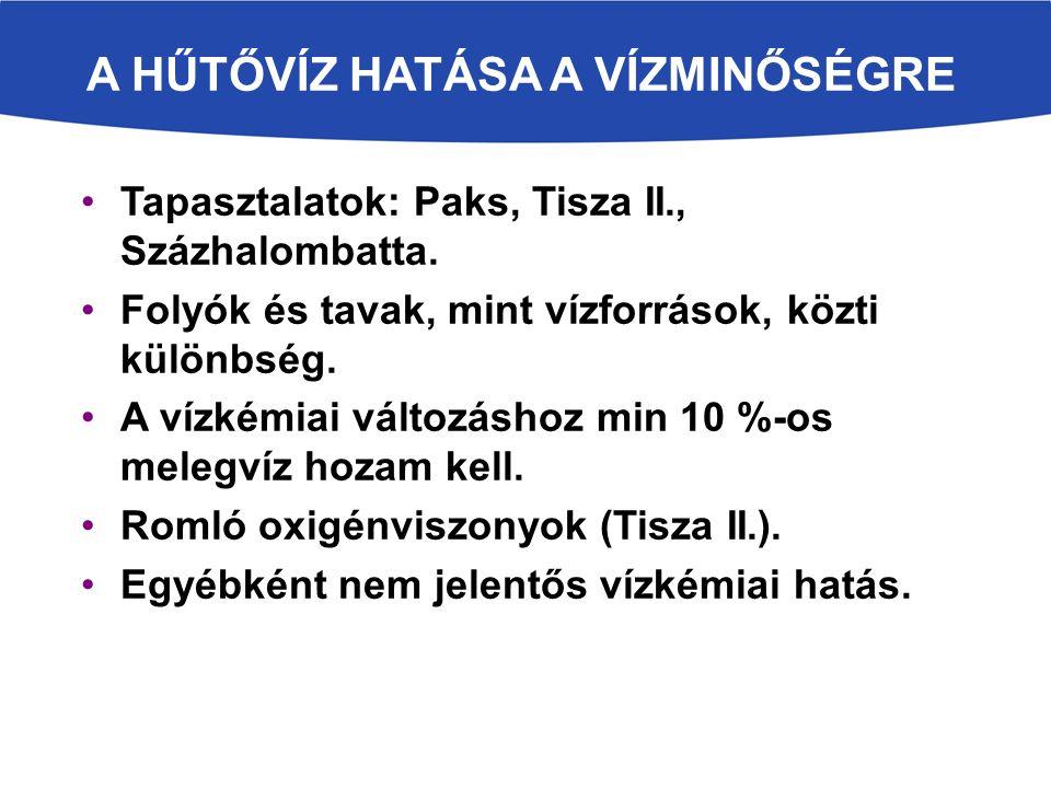 A HŰTŐVÍZ HATÁSA A VÍZMINŐSÉGRE Tapasztalatok: Paks, Tisza II., Százhalombatta.