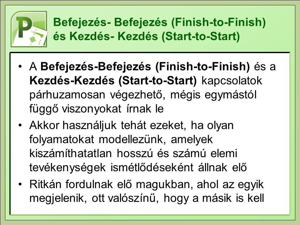 Befejezés- Befejezés (Finish-to-Finish) és Kezdés- Kezdés (Start-to-Start) A Befejezés-Befejezés (Finish-to-Finish) és a Kezdés-Kezdés (Start-to-Start