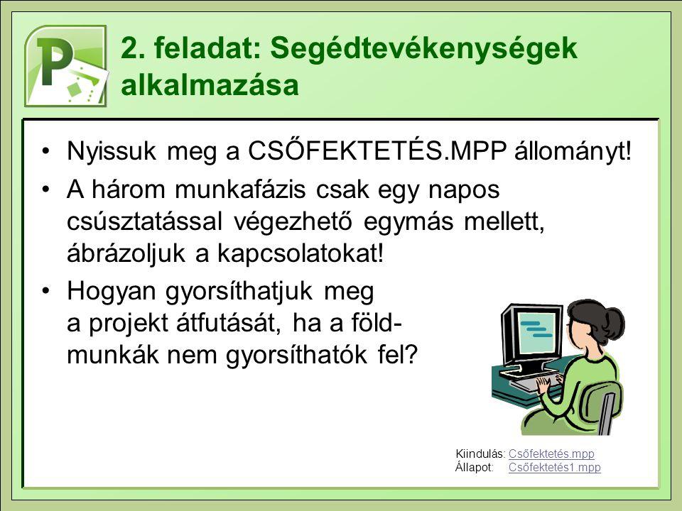 2. feladat: Segédtevékenységek alkalmazása Nyissuk meg a CSŐFEKTETÉS.MPP állományt! A három munkafázis csak egy napos csúsztatással végezhető egymás m