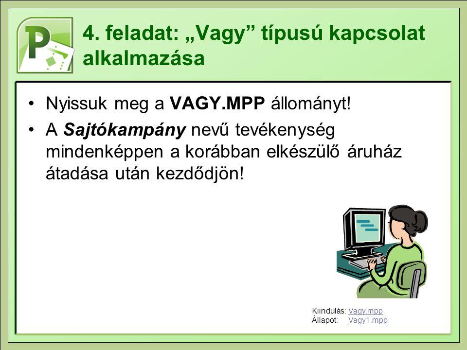"""4. feladat: """"Vagy"""" típusú kapcsolat alkalmazása Nyissuk meg a VAGY.MPP állományt! A Sajtókampány nevű tevékenység mindenképpen a korábban elkészülő ár"""