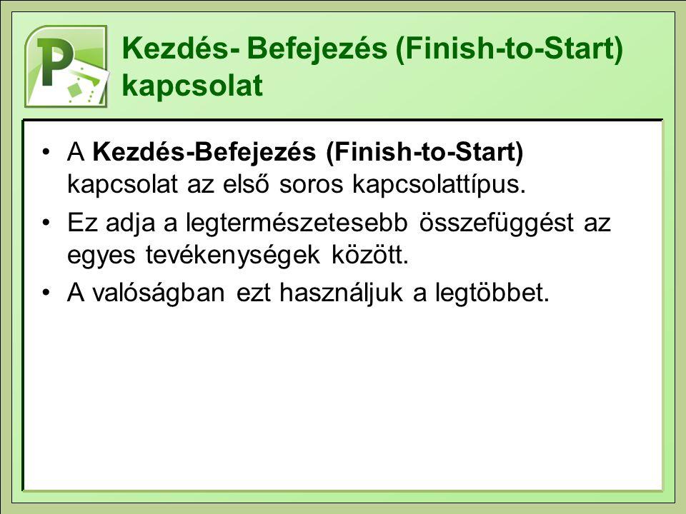 Kezdés- Befejezés (Finish-to-Start) kapcsolat A Kezdés-Befejezés (Finish-to-Start) kapcsolat az első soros kapcsolattípus. Ez adja a legtermészetesebb