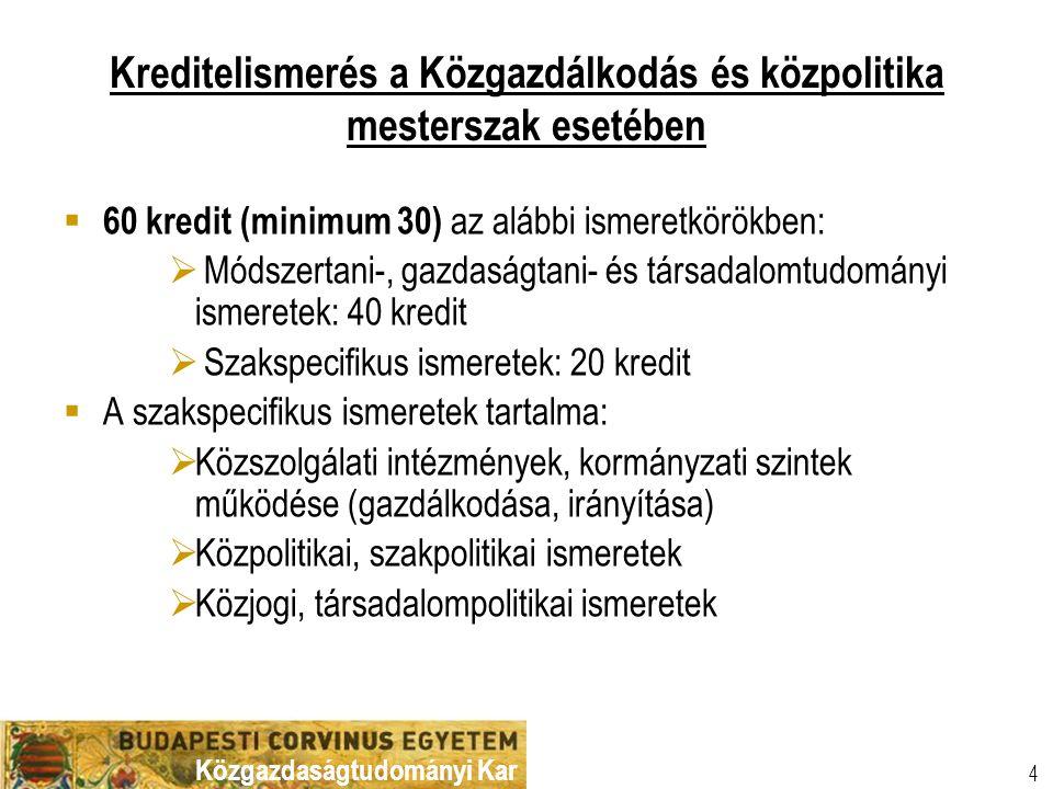 Közgazdaságtudományi Kar Kreditelismerés a Közgazdálkodás és közpolitika mesterszak esetében  60 kredit (minimum 30) az alábbi ismeretkörökben:  Mód