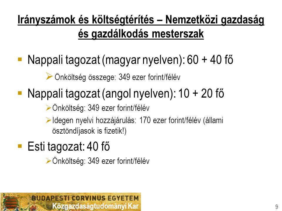 Közgazdaságtudományi Kar 9 Irányszámok és költségtérítés – Nemzetközi gazdaság és gazdálkodás mesterszak  Nappali tagozat (magyar nyelven): 60 + 40 f