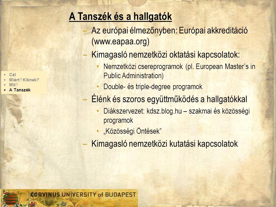 A Tanszék és a hallgatók –Az európai élmezőnyben: Európai akkreditáció (www.eapaa.org) –Kimagasló nemzetközi oktatási kapcsolatok: Nemzetközi csereprogramok (pl.