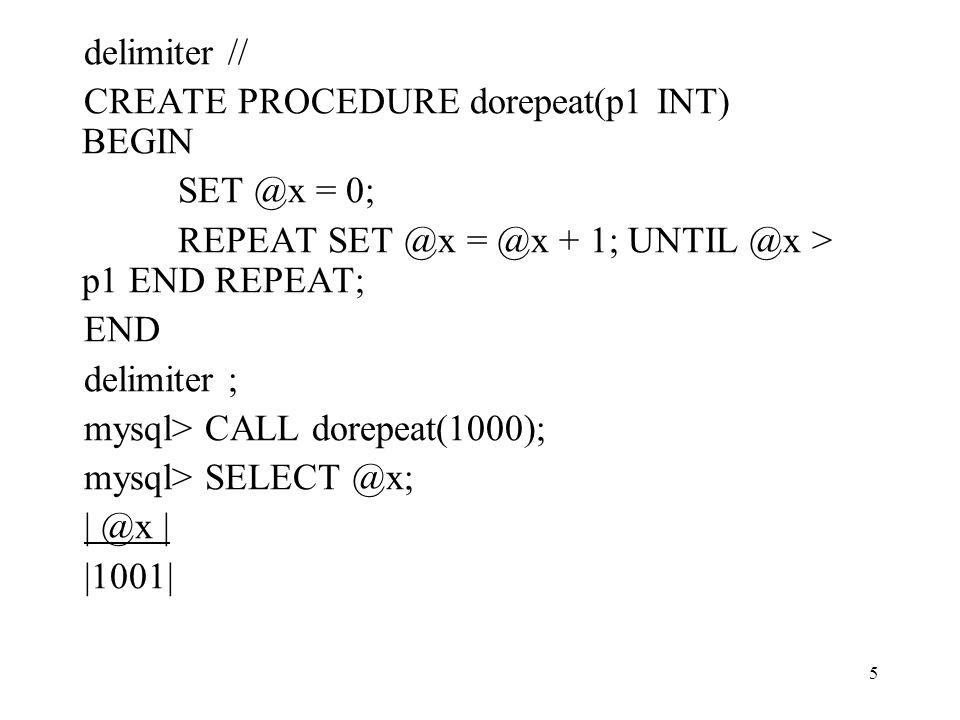 16 Lokális változók deklarációja DECLARE var_name [, var_name]...