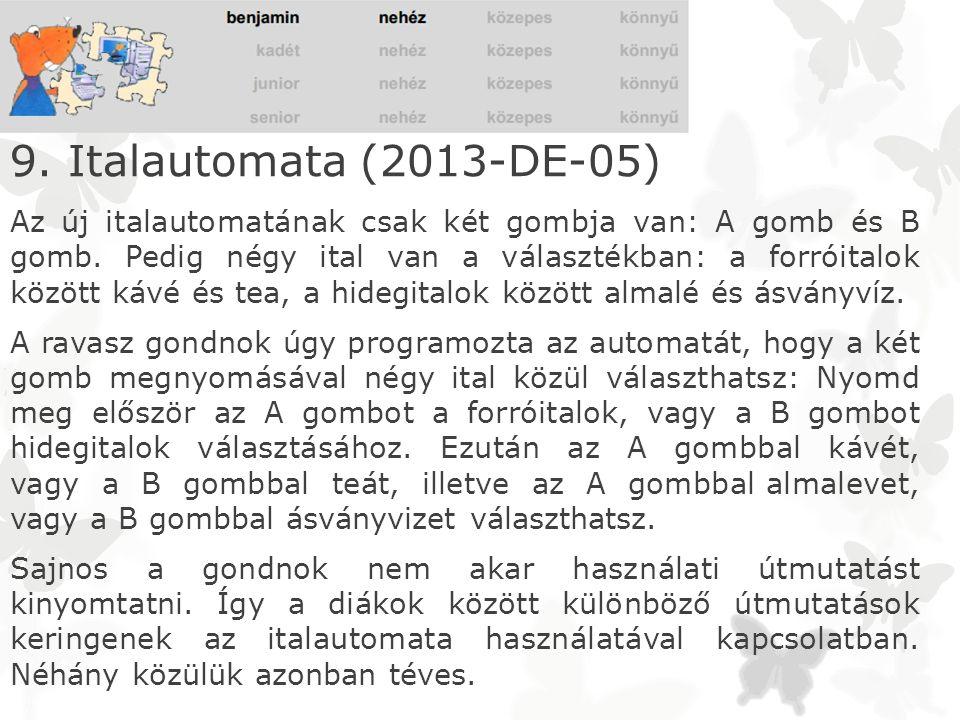 9. Italautomata (2013-DE-05) Az új italautomatának csak két gombja van: A gomb és B gomb. Pedig négy ital van a választékban: a forróitalok között káv