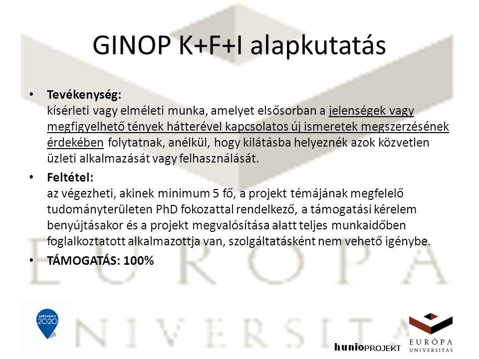 GINOP K+F+I alapkutatás Tevékenység: kísérleti vagy elméleti munka, amelyet elsősorban a jelenségek vagy megfigyelhető tények hátterével kapcsolatos új ismeretek megszerzésének érdekében folytatnak, anélkül, hogy kilátásba helyeznék azok közvetlen üzleti alkalmazását vagy felhasználását.
