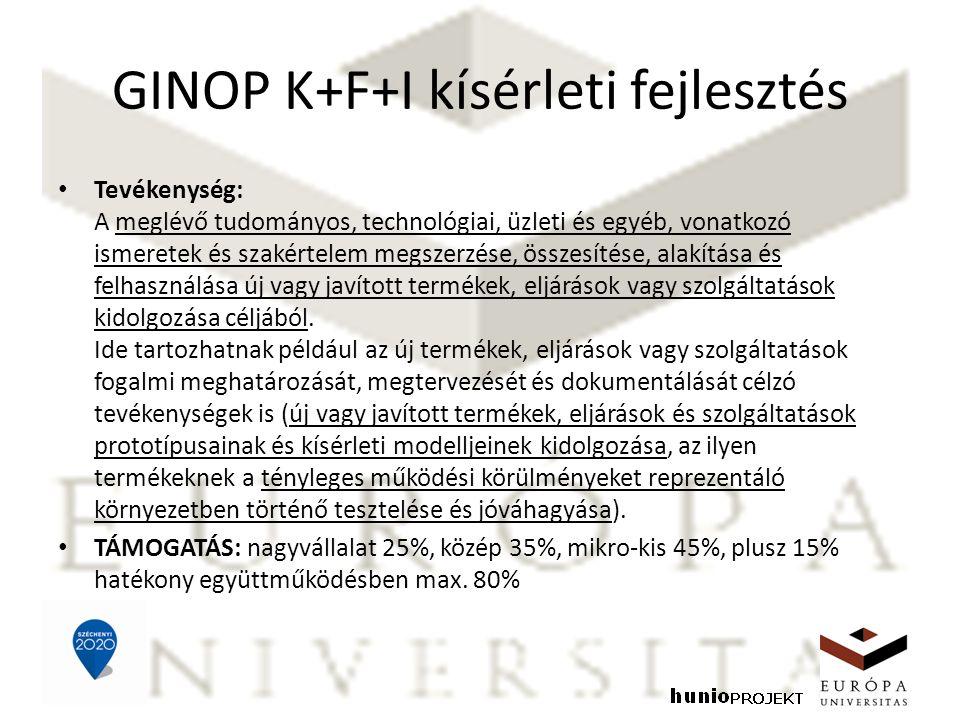 GINOP K+F+I kísérleti fejlesztés Tevékenység: A meglévő tudományos, technológiai, üzleti és egyéb, vonatkozó ismeretek és szakértelem megszerzése, öss