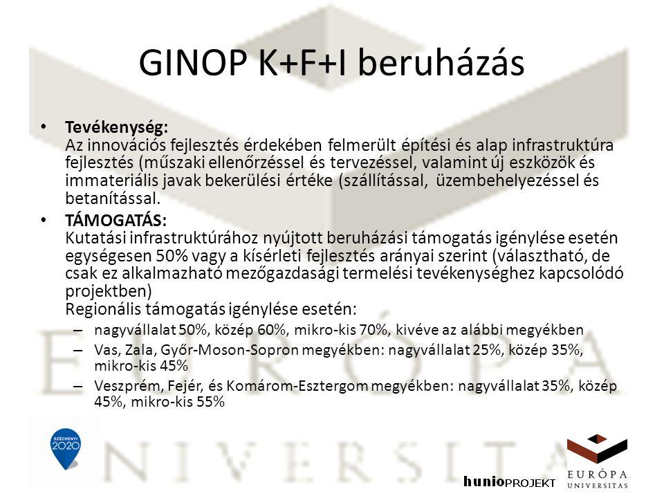 GINOP K+F+I beruházás Tevékenység: Az innovációs fejlesztés érdekében felmerült építési és alap infrastruktúra fejlesztés (műszaki ellenőrzéssel és tervezéssel, valamint új eszközök és immateriális javak bekerülési értéke (szállítással, üzembehelyezéssel és betanítással.