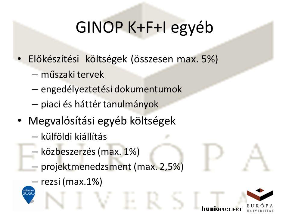 GINOP K+F+I egyéb Előkészítési költségek (összesen max. 5%) – műszaki tervek – engedélyeztetési dokumentumok – piaci és háttér tanulmányok Megvalósítá