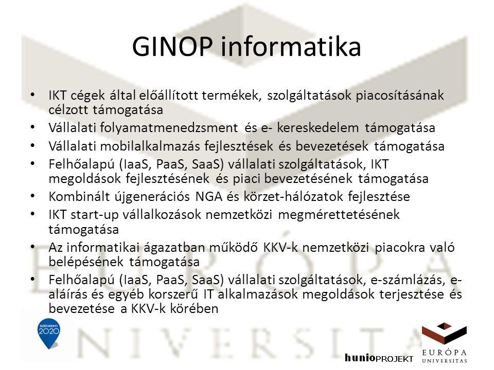 GINOP informatika IKT cégek által előállított termékek, szolgáltatások piacosításának célzott támogatása Vállalati folyamatmenedzsment és e- kereskedelem támogatása Vállalati mobilalkalmazás fejlesztések és bevezetések támogatása Felhőalapú (IaaS, PaaS, SaaS) vállalati szolgáltatások, IKT megoldások fejlesztésének és piaci bevezetésének támogatása Kombinált újgenerációs NGA és körzet-hálózatok fejlesztése IKT start-up vállalkozások nemzetközi megmérettetésének támogatása Az informatikai ágazatban működő KKV-k nemzetközi piacokra való belépésének támogatása Felhőalapú (IaaS, PaaS, SaaS) vállalati szolgáltatások, e-számlázás, e- aláírás és egyéb korszerű IT alkalmazások megoldások terjesztése és bevezetése a KKV-k körében