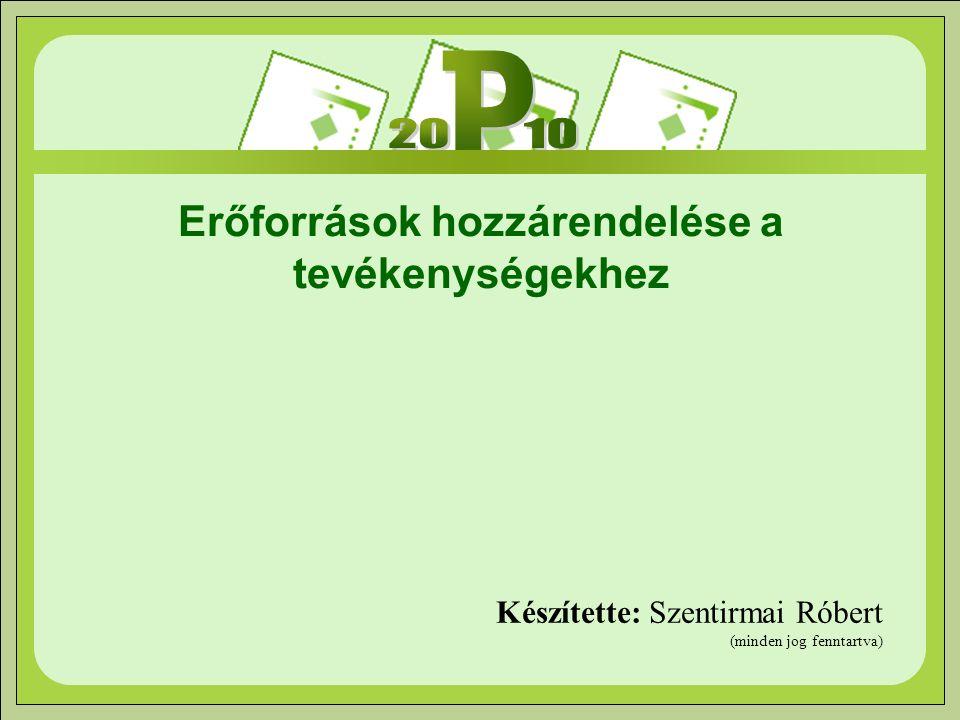 Erőforrások hozzárendelése a tevékenységekhez Készítette: Szentirmai Róbert (minden jog fenntartva)