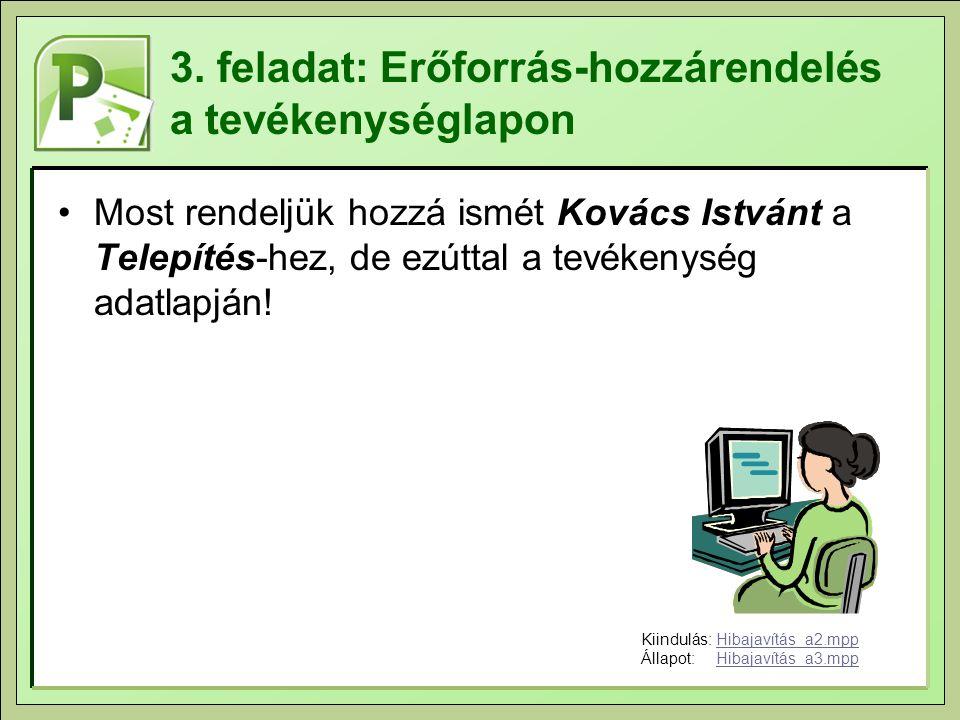 3. feladat: Erőforrás-hozzárendelés a tevékenységlapon Most rendeljük hozzá ismét Kovács Istvánt a Telepítés-hez, de ezúttal a tevékenység adatlapján!