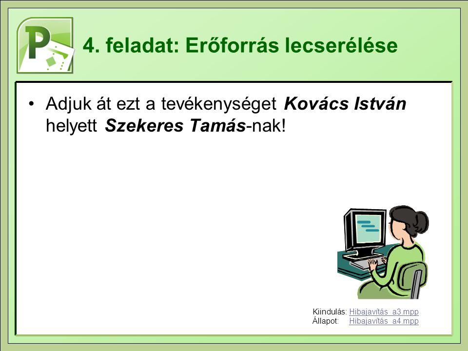 4. feladat: Erőforrás lecserélése Adjuk át ezt a tevékenységet Kovács István helyett Szekeres Tamás-nak! Kiindulás:Hibajavítás_a3.mppHibajavítás_a3.mp