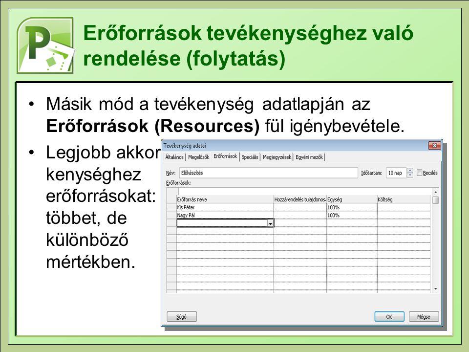 Erőforrások tevékenységhez való rendelése (folytatás) Másik mód a tevékenység adatlapján az Erőforrások (Resources) fül igénybevétele. Legjobb akkor,