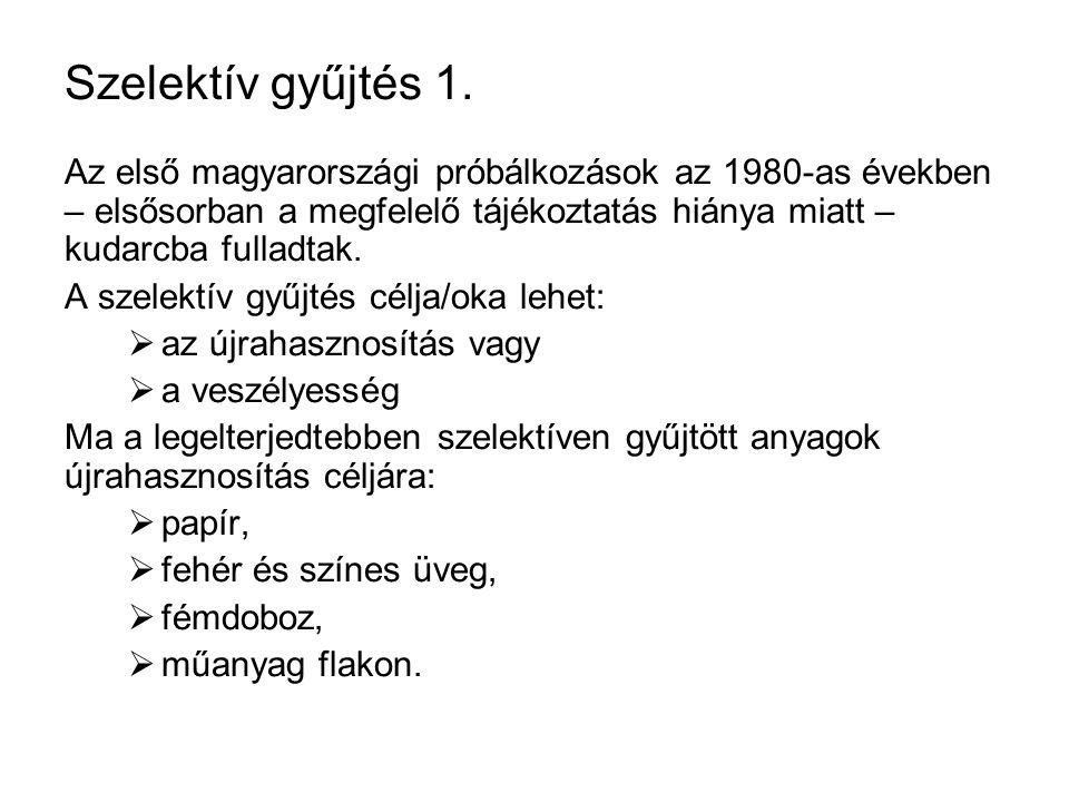 Szelektív gyűjtés 1. Az első magyarországi próbálkozások az 1980-as években – elsősorban a megfelelő tájékoztatás hiánya miatt – kudarcba fulladtak. A