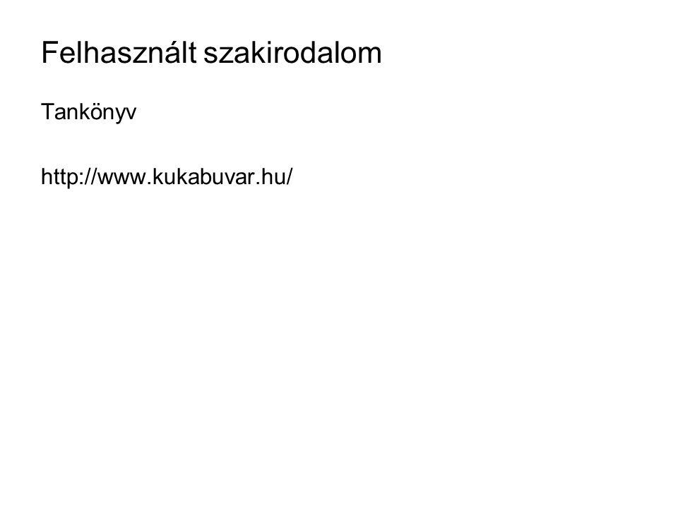 Felhasznált szakirodalom Tankönyv http://www.kukabuvar.hu/