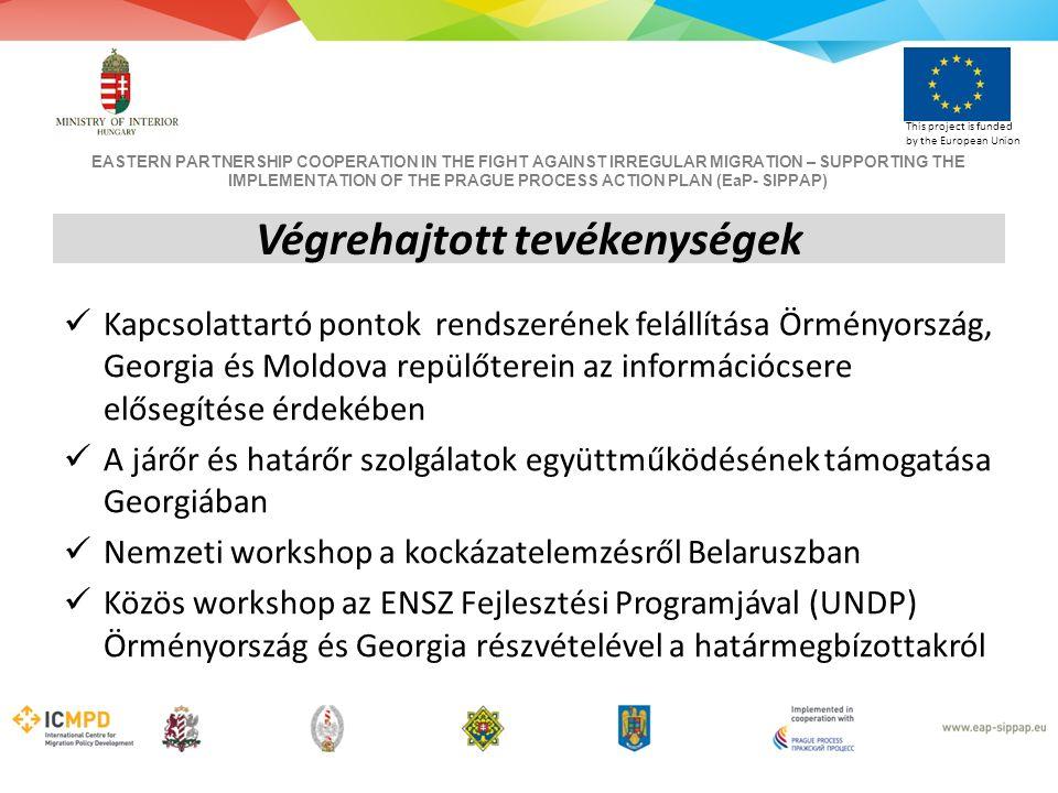 EASTERN PARTNERSHIP COOPERATION IN THE FIGHT AGAINST IRREGULAR MIGRATION – SUPPORTING THE IMPLEMENTATION OF THE PRAGUE PROCESS ACTION PLAN (EaP- SIPPAP) This project is funded by the European Union Kapcsolattartó pontok rendszerének felállítása Örményország, Georgia és Moldova repülőterein az információcsere elősegítése érdekében A járőr és határőr szolgálatok együttműködésének támogatása Georgiában Nemzeti workshop a kockázatelemzésről Belaruszban Közös workshop az ENSZ Fejlesztési Programjával (UNDP) Örményország és Georgia részvételével a határmegbízottakról Végrehajtott tevékenységek