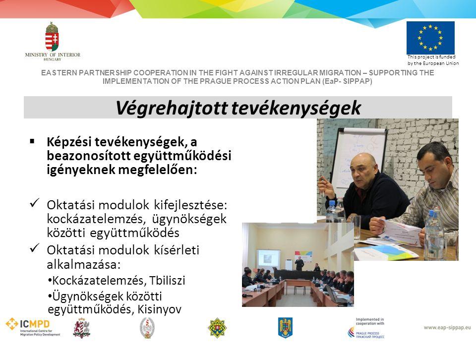 EASTERN PARTNERSHIP COOPERATION IN THE FIGHT AGAINST IRREGULAR MIGRATION – SUPPORTING THE IMPLEMENTATION OF THE PRAGUE PROCESS ACTION PLAN (EaP- SIPPAP) This project is funded by the European Union  Képzési tevékenységek, a beazonosított együttműködési igényeknek megfelelően: Oktatási modulok kifejlesztése: kockázatelemzés, ügynökségek közötti együttműködés Oktatási modulok kísérleti alkalmazása: Kockázatelemzés, Tbiliszi Ügynökségek közötti együttműködés, Kisinyov Végrehajtott tevékenységek