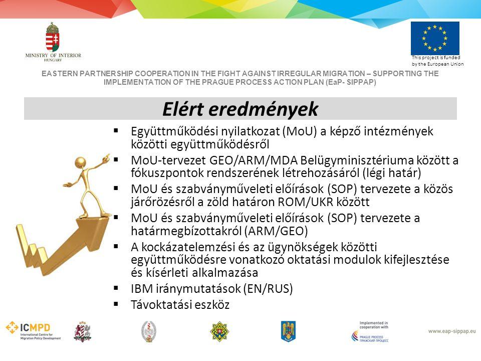 EASTERN PARTNERSHIP COOPERATION IN THE FIGHT AGAINST IRREGULAR MIGRATION – SUPPORTING THE IMPLEMENTATION OF THE PRAGUE PROCESS ACTION PLAN (EaP- SIPPAP) This project is funded by the European Union  Együttműködési nyilatkozat (MoU) a képző intézmények közötti együttműködésről  MoU-tervezet GEO/ARM/MDA Belügyminisztériuma között a fókuszpontok rendszerének létrehozásáról (légi határ)  MoU és szabványműveleti előírások (SOP) tervezete a közös járőrözésről a zöld határon ROM/UKR között  MoU és szabványműveleti előírások (SOP) tervezete a határmegbízottakról (ARM/GEO)  A kockázatelemzési és az ügynökségek közötti együttműködésre vonatkozó oktatási modulok kifejlesztése és kísérleti alkalmazása  IBM iránymutatások (EN/RUS)  Távoktatási eszköz Elért eredmények