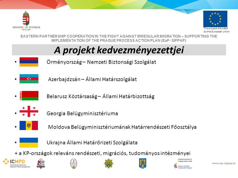 EASTERN PARTNERSHIP COOPERATION IN THE FIGHT AGAINST IRREGULAR MIGRATION – SUPPORTING THE IMPLEMENTATION OF THE PRAGUE PROCESS ACTION PLAN (EaP- SIPPAP) This project is funded by the European Union Örményország – Nemzeti Biztonsági Szolgálat Azerbajdzsán – Állami Határszolgálat Belarusz Köztársaság – Állami Határbizottság Georgia Belügyminisztériuma Moldova Belügyminisztériumának Határrendészeti Főosztálya Ukrajna Állami Határőrizeti Szolgálata + a KP-országok releváns rendészeti, migrációs, tudományos intézményei A projekt kedvezményezettjei
