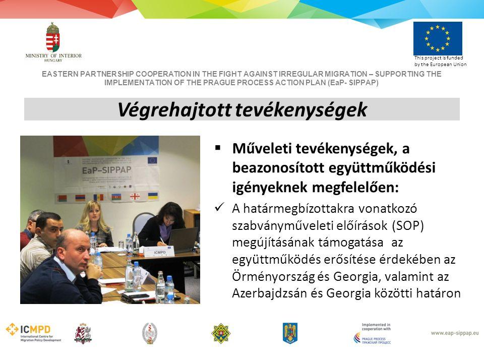 EASTERN PARTNERSHIP COOPERATION IN THE FIGHT AGAINST IRREGULAR MIGRATION – SUPPORTING THE IMPLEMENTATION OF THE PRAGUE PROCESS ACTION PLAN (EaP- SIPPAP) This project is funded by the European Union  Műveleti tevékenységek, a beazonosított együttműködési igényeknek megfelelően: A határmegbízottakra vonatkozó szabványműveleti előírások (SOP) megújításának támogatása az együttműködés erősítése érdekében az Örményország és Georgia, valamint az Azerbajdzsán és Georgia közötti határon Végrehajtott tevékenységek
