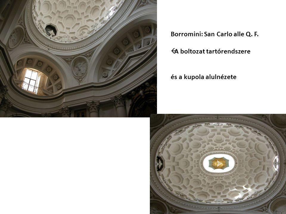Borromini: San Carlo alle Q. F.  A boltozat tartórendszere és a kupola alulnézete