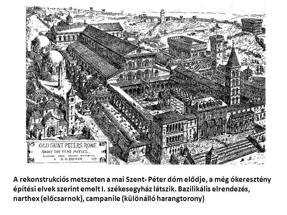 A rekonstrukciós metszeten a mai Szent- Péter dóm elődje, a még ókeresztény építési elvek szerint emelt I. székesegyház látszik. Bazilikális elrendezé